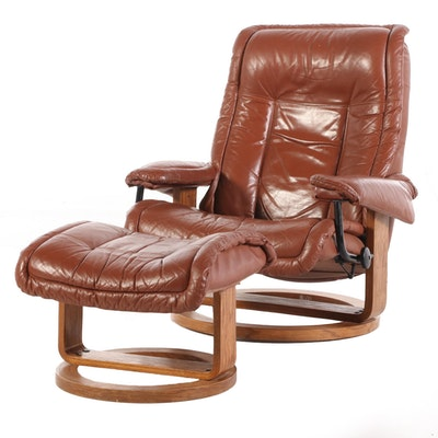 Modern Faux Leather Reclining Arm Chair with Ottoman