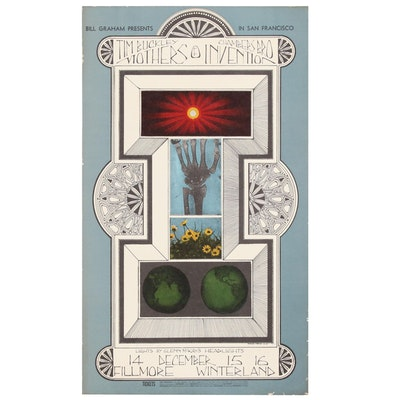 Vintage Concert Poster for Bill Graham Presents Mothers of Invention, 1967
