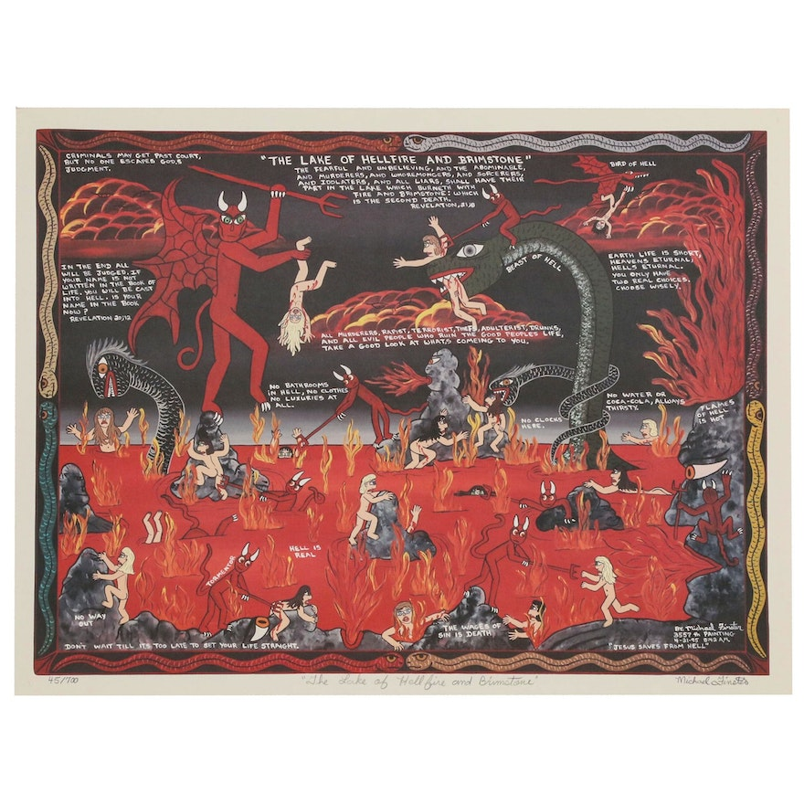 """Michael Finster Offset Lithograph """"The Lake of Hellfire and Brimstone"""""""