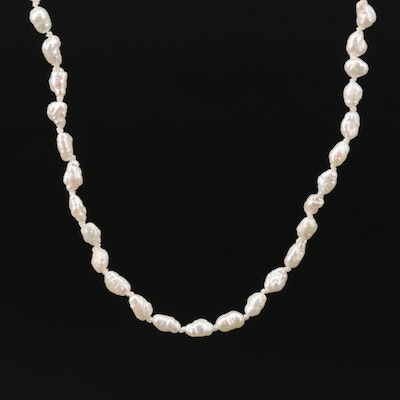 14K Gold Cultured Pearl Individually Knotted Necklace