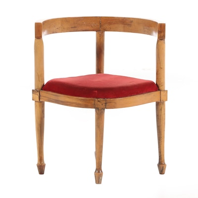 Continental Fruitwood Corner Chair, Late 19th to Early 20th Century