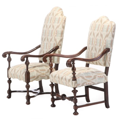 Renaissance Style Mahogany Upholstered Arm Chairs, 1940s