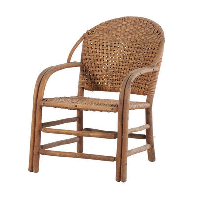 Old Hickory Martinsville Bentwood and Rattan Arm Chair, Mid-20th Century