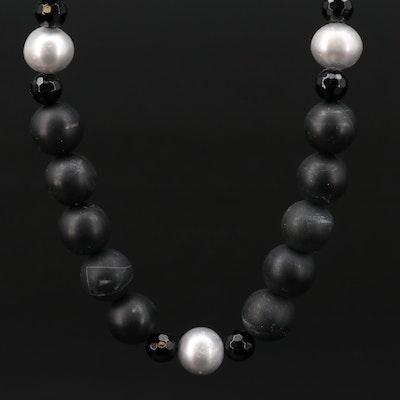 Black Onyx and Cultured Pearl Strand Necklace with 14K Yellow Gold Clasp