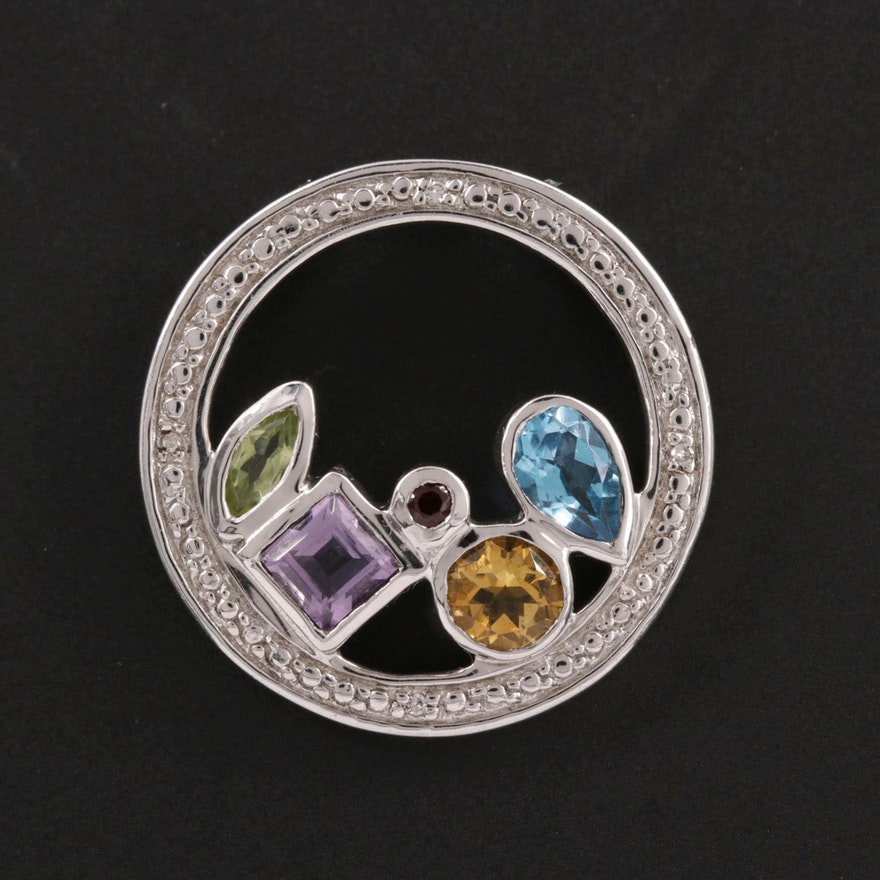 Sterling Pendant with Citrine, Topaz, Amethyst, Peridot and Diamond