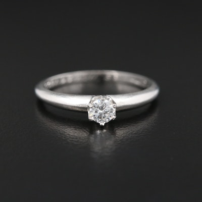 Vintage Tiffany & Co. Platinum 0.16 CT Diamond Solitaire Ring