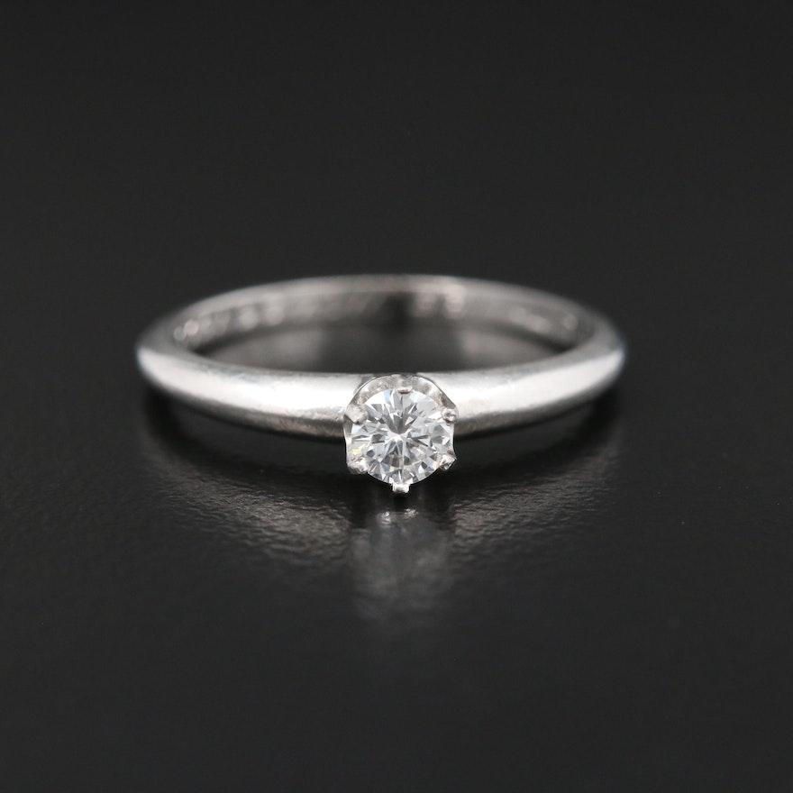 Vintage Tiffany & Co. Platinum 0.16 CT Diamond Solitaire Ring