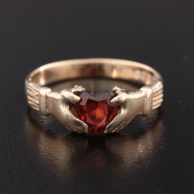 9K Yellow Gold Garnet Claddagh Ring