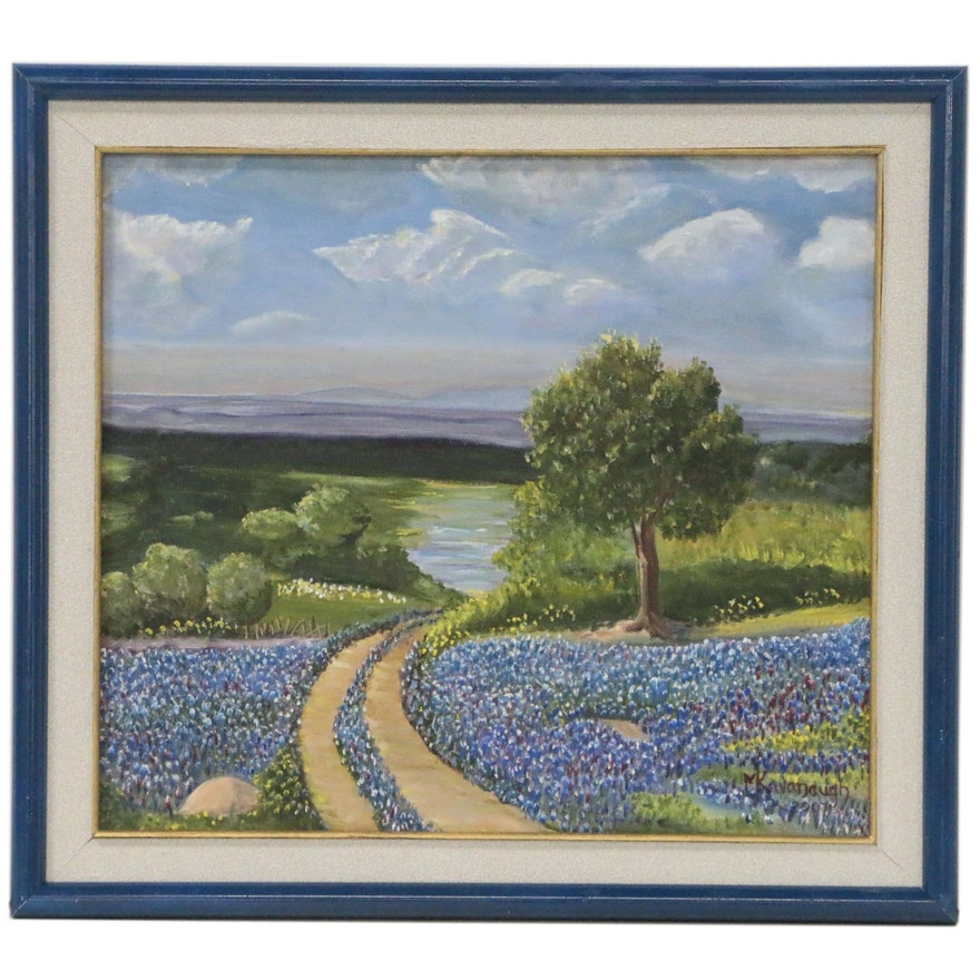 M. Kavanaugh Oil Painting of Landscape with Texas Bluebonnets, 2007