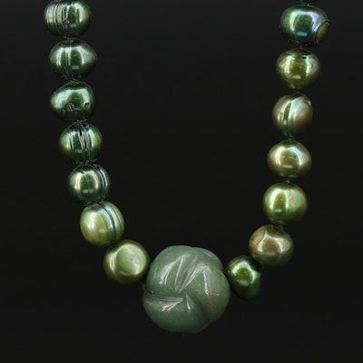 Aventurine and Cultured Pearl Strand Necklace with 14K Yellow Gold Clasp