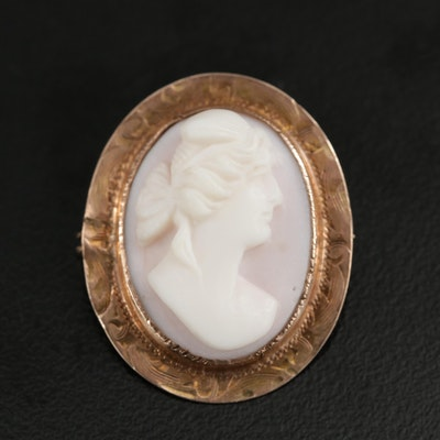 Victorian 10K Yellow Gold Conch Shell Cameo Converter Brooch