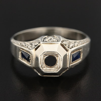 Art Deco 18K Gold Synthetic Sapphire Semi-Mount Ring