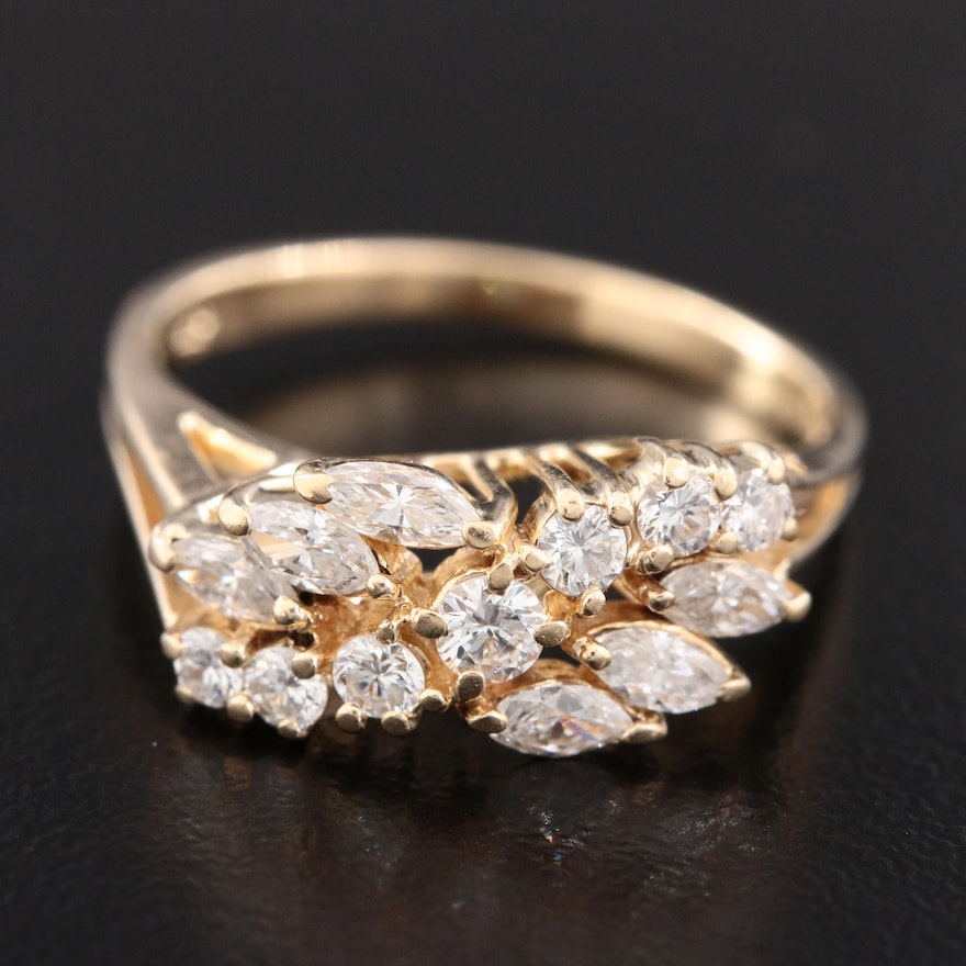 14K Yellow Gold 0.75 CTW Diamond Ring