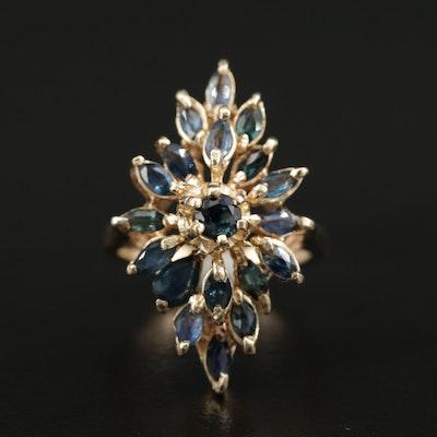 14K Gold Sapphire Navette Ring