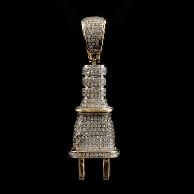 10K Yellow Gold Diamond Electric Plug Pendant