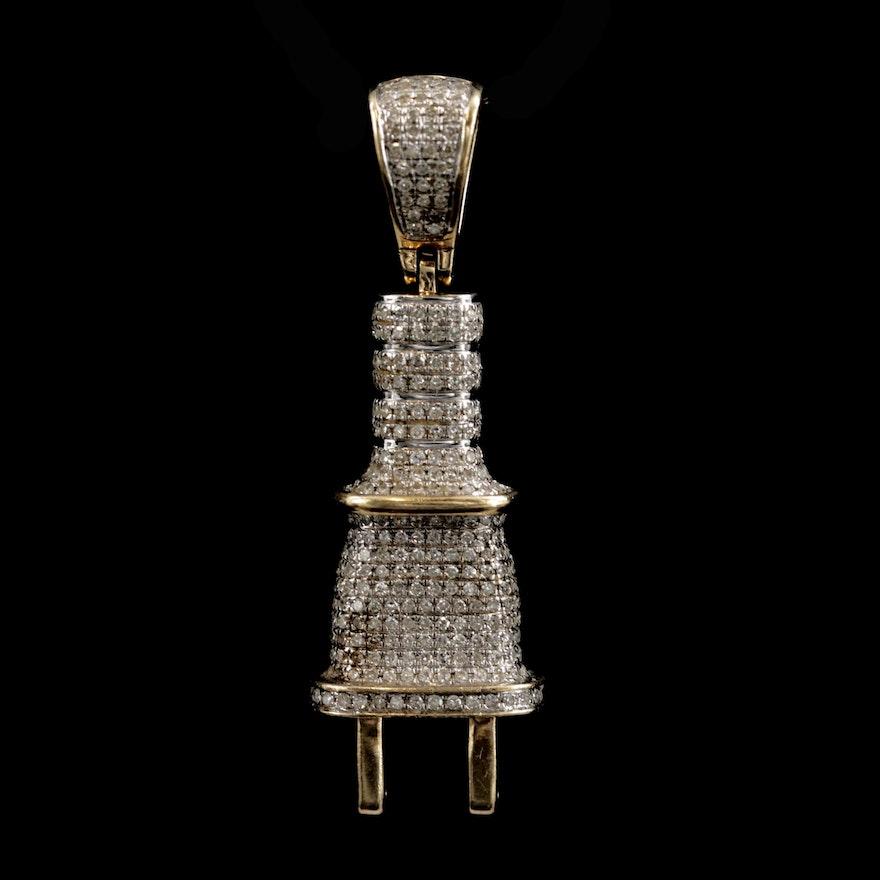 10K Yellow Gold Diamond Electric Plug Pendant