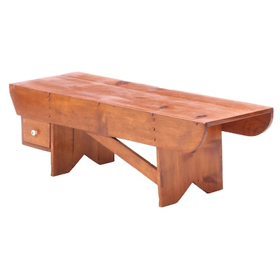 Stained Pine Bench or Coffee Table, Late 20th Century