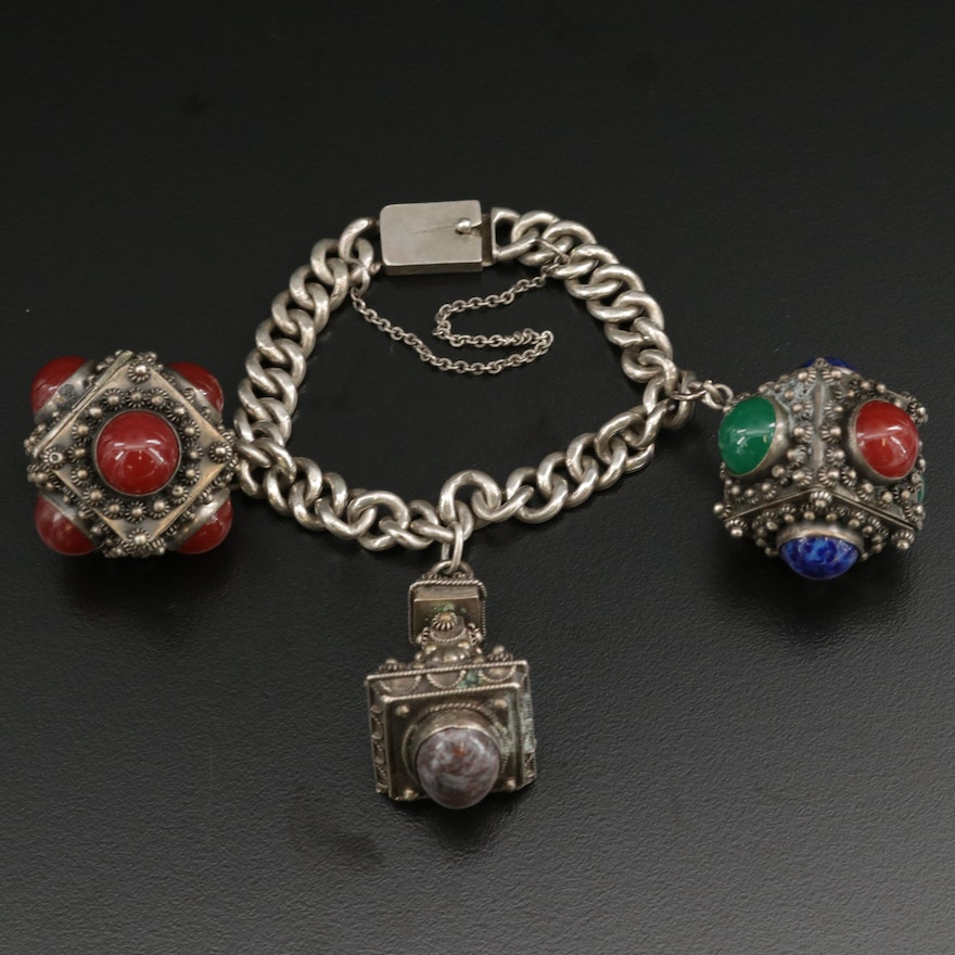 Vintage Mexican Sterling Silver Charm Bracelet with Moss Agate and Chalcedony
