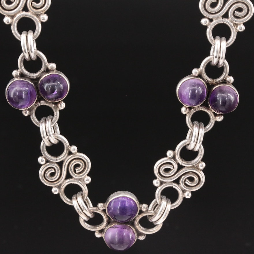 Plateria Taxco Mexican Sterling Silver Amethyst Necklace
