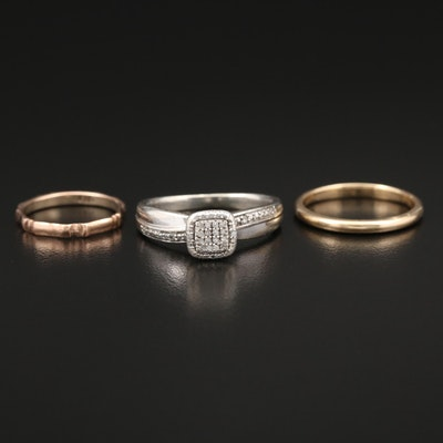14K Yellow Gold Bands and Sterling Diamond Ring