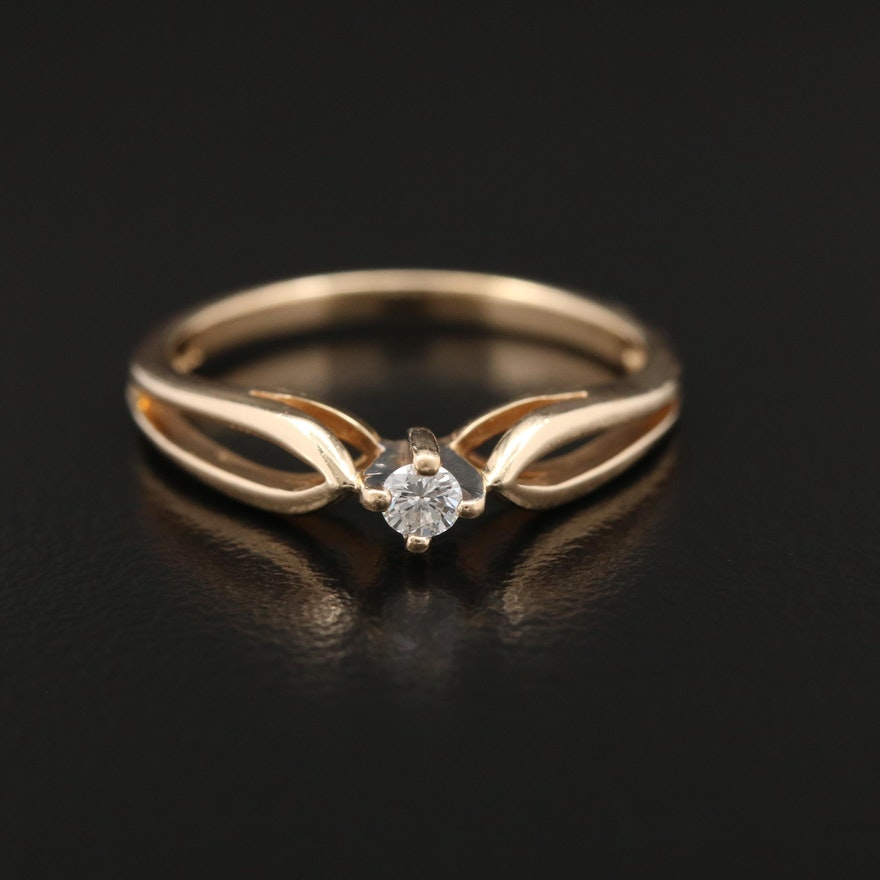14K Yellow Gold 0.07 CT Diamond Solitaire Ring