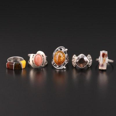 Sterling Silver Rings Featuring Smoky Quartz, Amber and Agate