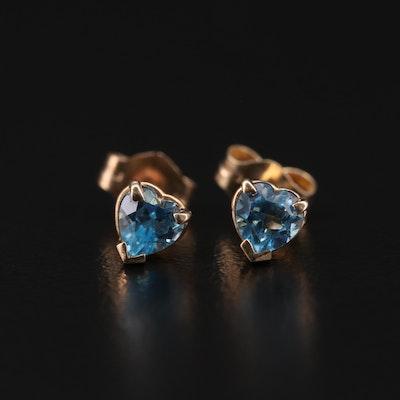10K Yellow Gold Blue Topaz Heart Stud Earrings