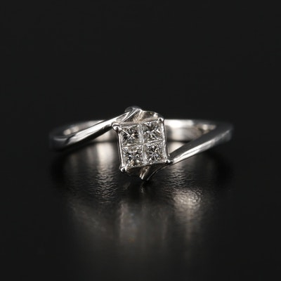 18K White Gold Diamond Bypass Ring