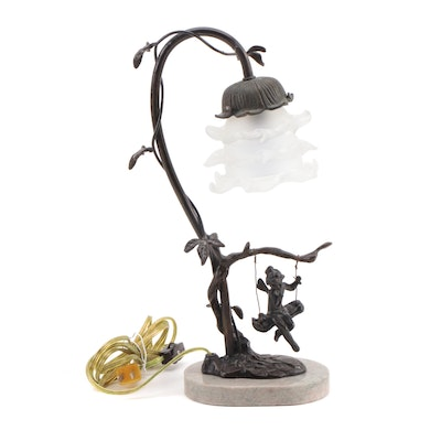 "Victorian Style ""Cherub on Swing"" Table Accent Lamp"