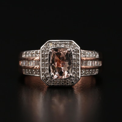 Sterling Silver Morganite and Diamond Ring
