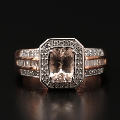 Sterling Morganite and Diamond Ring