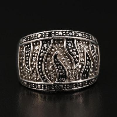 Sterling Silver Diamond Zebra Stripe Motif Ring