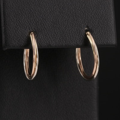 14K Tri Color Gold Twisted Hoops