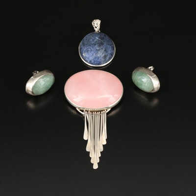 Sterling Mixed Gemstone Cabochon Jewelry Including Mexican Sterling Silver