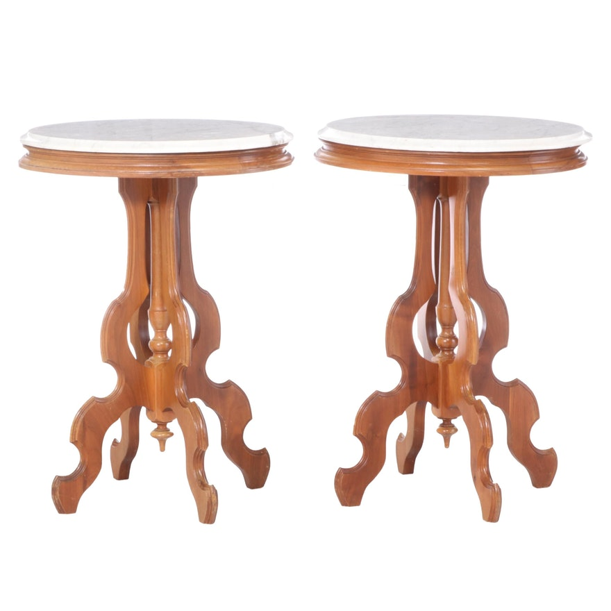 Victorian Style Marble Top Walnut End Tables, Mid-20th Century
