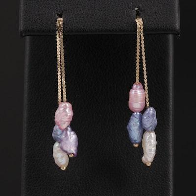 14K Yellow Gold Cultured Pearl Dangle Earrings