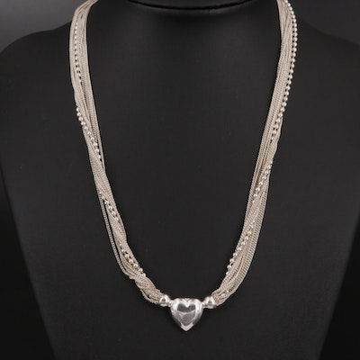 Sterling Silver Multi-Strand Heart Necklace