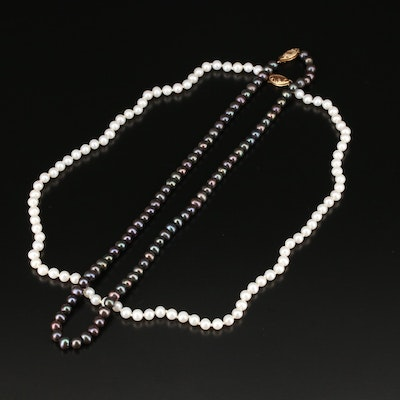 Knotted Pearl Necklaces with 14K Clasps