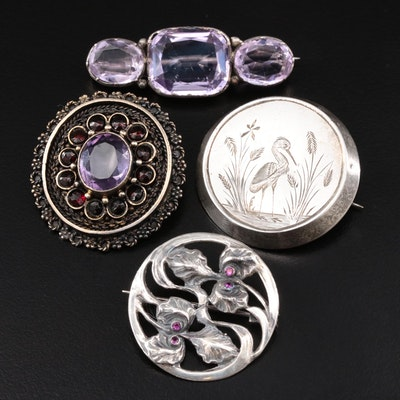 Vintage Sterling Silver Brooches Featuring Amethyst and Synthetic Ruby