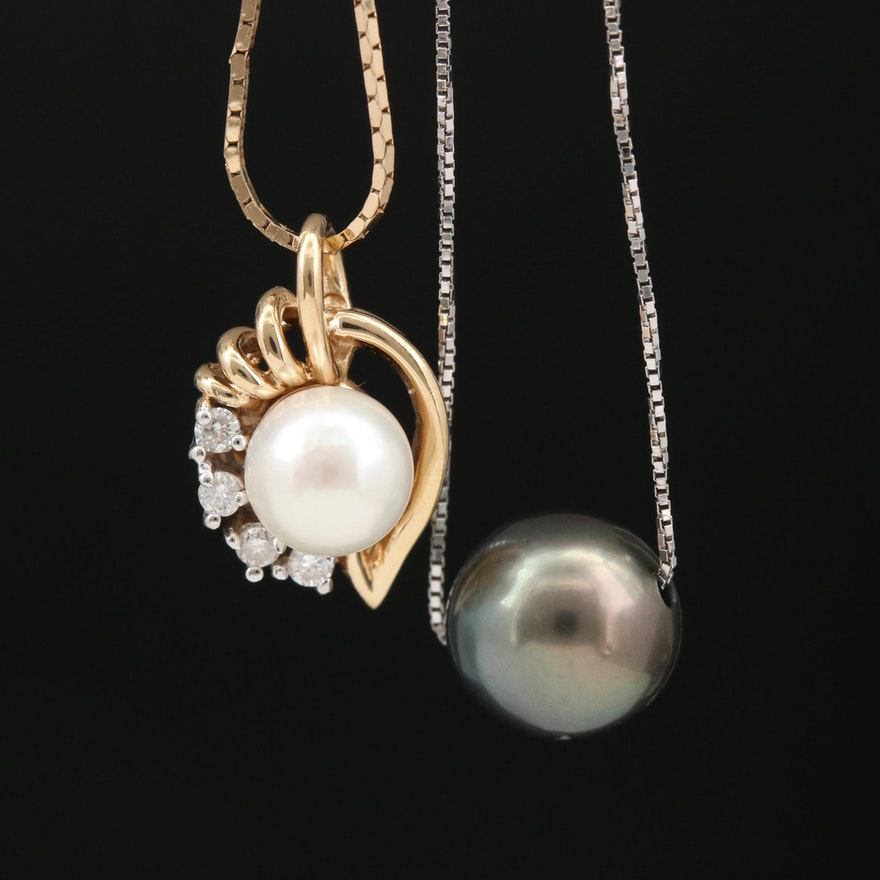 14K Gold Cultured Pear and Diamond Pendant Necklaces