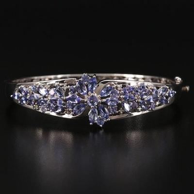 Sterling Silver Tanzanite and Diamond Hinged Bracelet