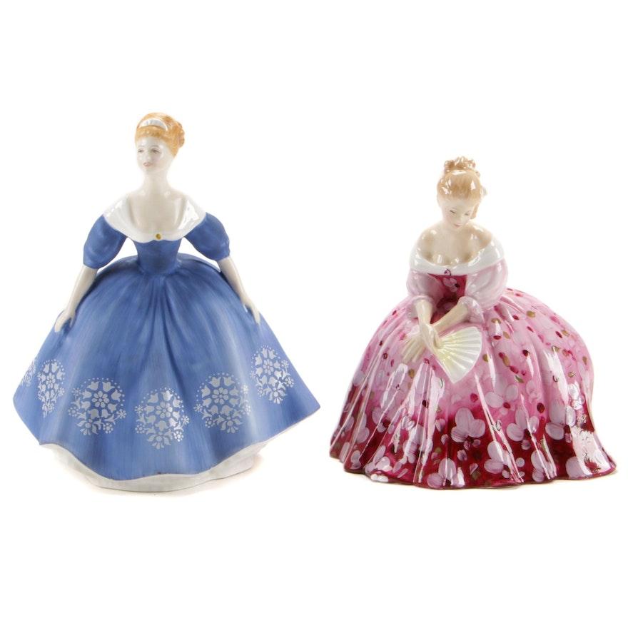 "Royal Doulton ""Victoria"" and ""Nina"" Bone China Figurines"