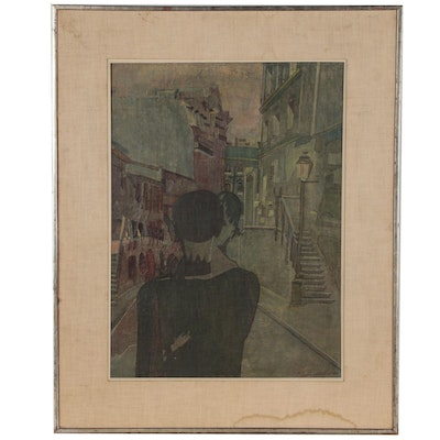 Pierre Courtens Modernist Oil Painting of Couple on City Street