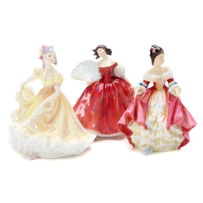"Royal Doulton ""Southern Belle"", ""Ninette"" and ""First Waltz"" Bone China Figurines"