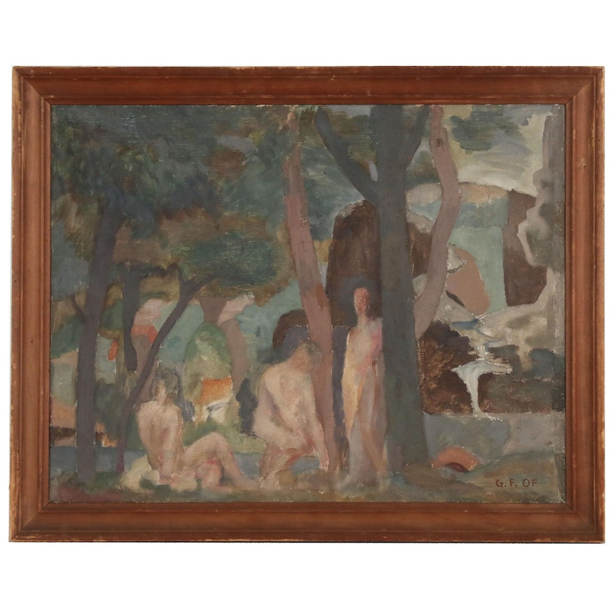 George F. Of Modernist Oil Painting of Figures in Forested Landscape