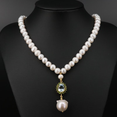 Sterling Silver Cultured Pearl, Topaz and Diopside Necklace