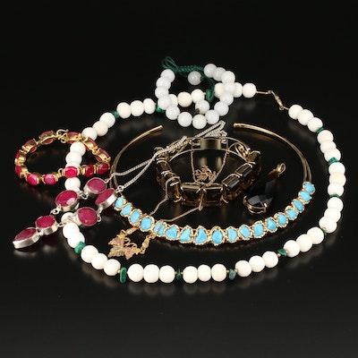 Assorted Jewelry with Smoky Quartz, Corundum, Malachite and Coral