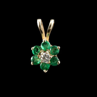 14K Gold Diamond and Emerald Floral Pendant