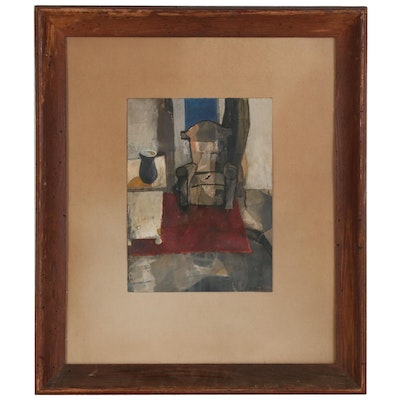 "Modernist Gouache Painting ""Robin's Chair"", Mid 20th Century"