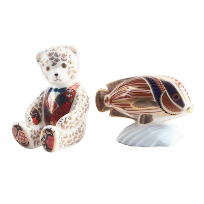 "Royal Crown Derby ""Sweetlips"" and Bear Bone China Figurines"